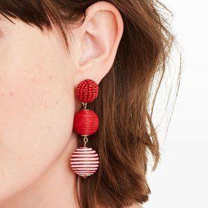 Club Monaco Bauble Stripe Earrings Red